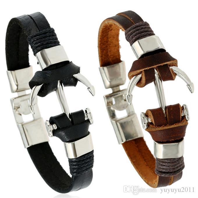 20styles Fashion men Genuine leather bracelet handmade alloy zinc boat bracelet men Best Friend gift high quality pulseras mujer pksp4-5