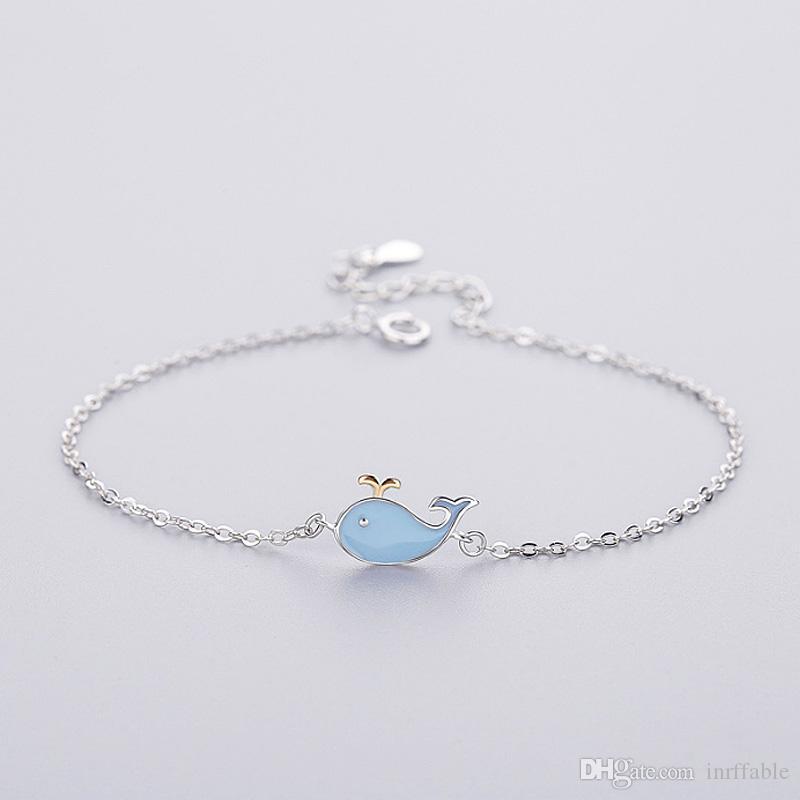 925 серебряных ювелирных изделий женский браслет Симпатичные животные синий Дельфин Ссылка цепи ювелирные изделия браслет регулируемый