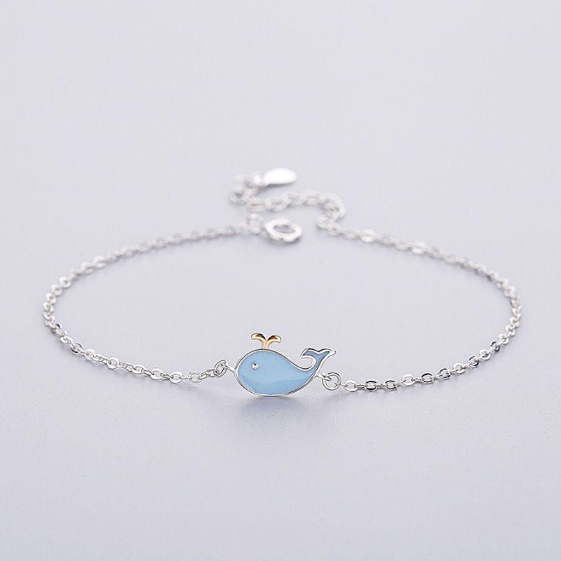 Braccialetto femminile di gioielli in argento sterling 925 carino animale blu blu delfino collegamento catena gioielli braccialetto di fascino regolabile