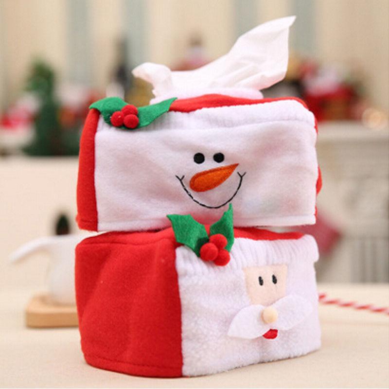 크리스마스 사각형 새해 티슈 박스 커버 종이 홀더 홈 장식 크리스마스 선물 데스크 티슈 박스