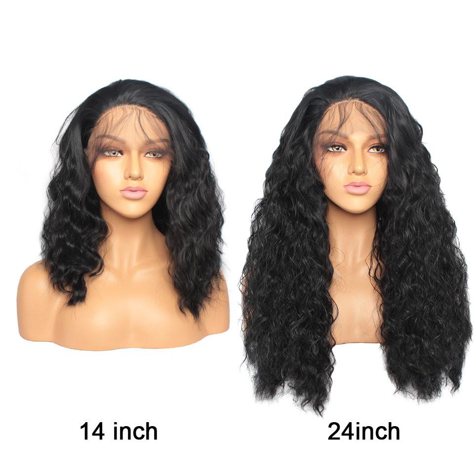 Wholesale 14-26inches in Stock Black Color Short Curly Wavy Synthetic Lace Front Wigs with Baby Hair Natural Hairline Full Wigs For Women