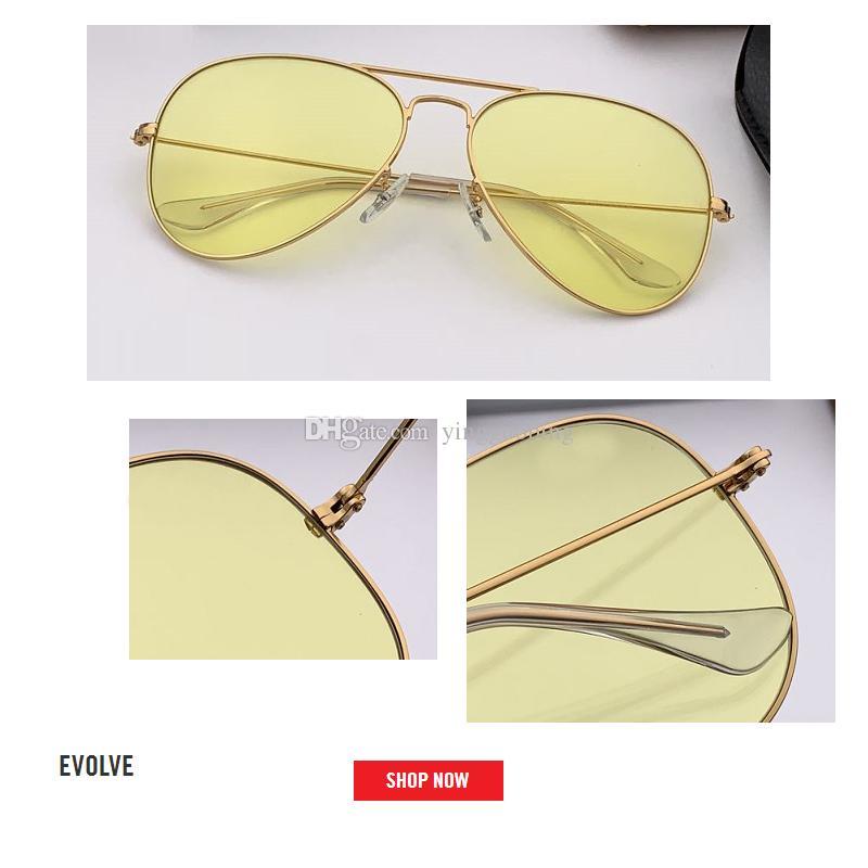 موضة جديدة الطيار نمط خمر الطيران نظارات معدنية تطوير العلامة التجارية تصميم النظارات oculos دي سول gafas uv400 عدسة زجاجية حجم 58 ملليمتر