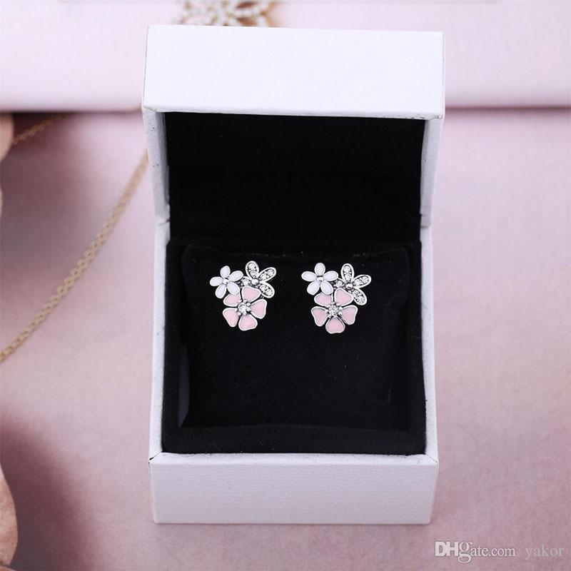 Authentique en argent sterling Fleurs dormeuses logo emballage d'origine pour Pandora Rose émail Daisy femmes mignonnes oreilles filles ensembles