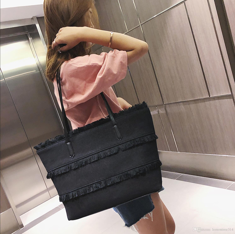 Women Denim Handbag Tassel Shoulder Bags High Capacity Black Canvas Bag Casual Tote Bags Fashion Purse JY03