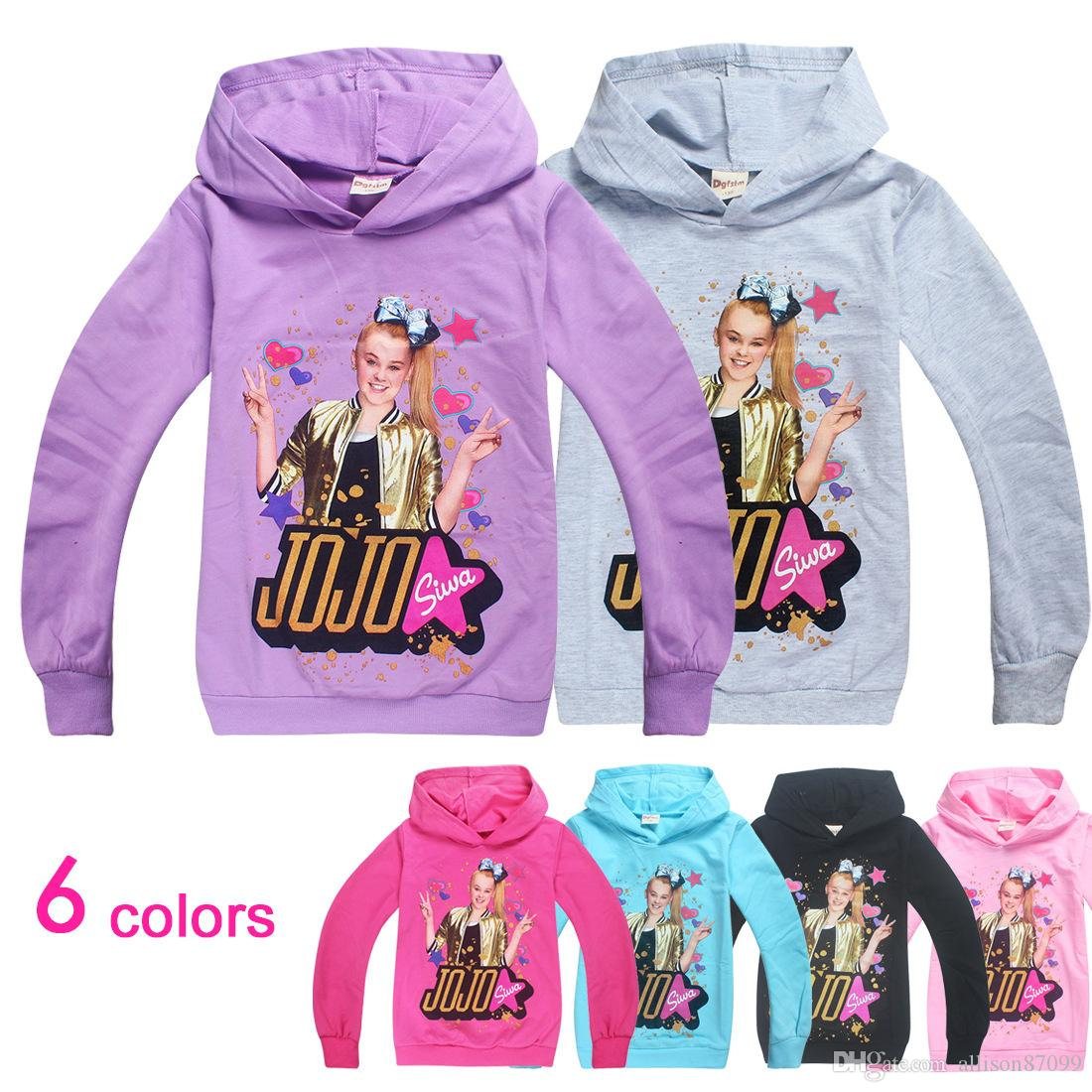 JOJO Siwa Hoodies Pullover Chidren clothing 6 Colors Printed Junior's Hooded Coat Terry Cotton Spring Autumn 2019 Free DHL