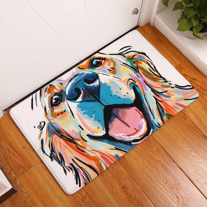 Tapis de flanelle moderne Tapis d'impression de chien Tapis antidérapant Tapis de sol antidérapant Cuisine Salon Tapis d'extérieur Porméatère 40x60cm