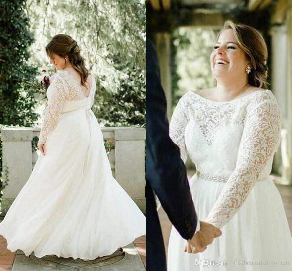 Plus Size Wedding Dress Crew Neck Long Sleeve Lace Belt Floor Length 2019 Arabic African Wedding Bridal Dress Wholesale 2019
