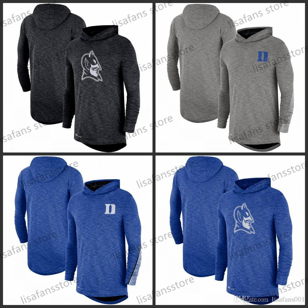 Duke Blue Devils Heather Gray Royal 2019 Sidicule Performances à capuchon à capuche à manches longues Top Tee imprimé Tee Color College College T-shirts Taille S-4XL