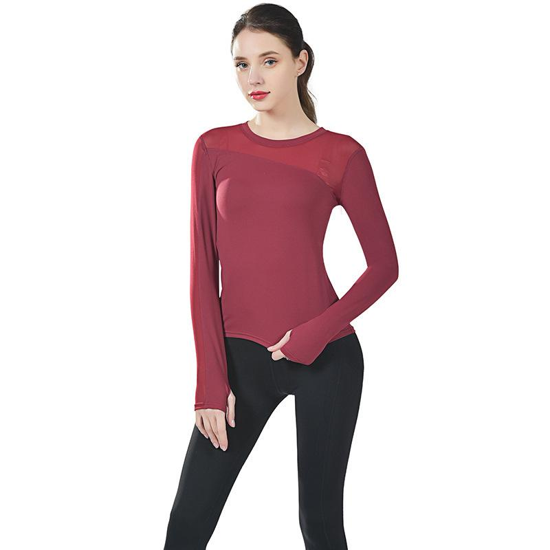 Full Length Sleaves Summer Yoga Shirt Clothes Running Fitness Fast-drying Beautiful Back Sports Long Gym T Shirts For Women New