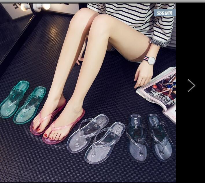 Лето плоское дно мода на открытом воздухе носить женский кристалл прозрачный студент плоский каблук клип нога флип-флоп сандалии пляжа