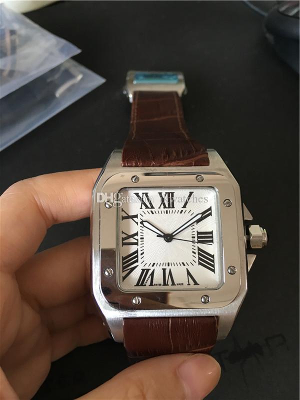 사람이 자동 운동 스테인레스 스틸 시계 케이스 가죽 스트랩 손목 시계 064에 대한 뜨거운 판매 남자 시계 스포츠 시계
