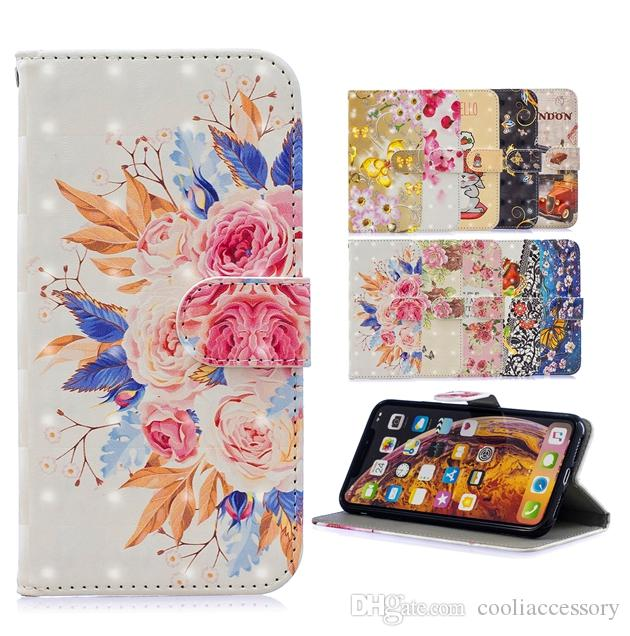 3D Bling Flower Wallet Leather Case For Samsung Galaxy A20E A20 A30 A40 A50 A70 M30 Cartoon Strap Butterfly London Stand ID Skin Cover 50PCS