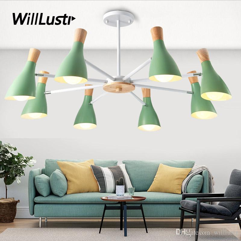 Macaron Color Semi Flush Mount Ceiling Lamp Hotel Restaurant Hall Bedroom Baby Room Green Pink Colorful Iron Wood Bird Lighting