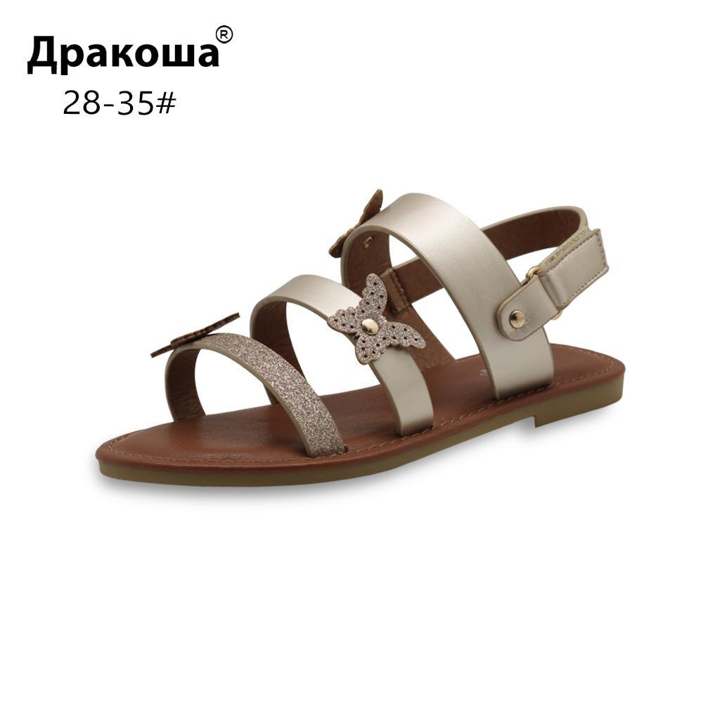 Apakowa Eur 28-35 Yaz Çocuk ayakkabıları Kız Güzel Kızlar Için Plaj Parti Düğün Çocuklar Için Düz Sandalet Burnu açık Ayakkab ...