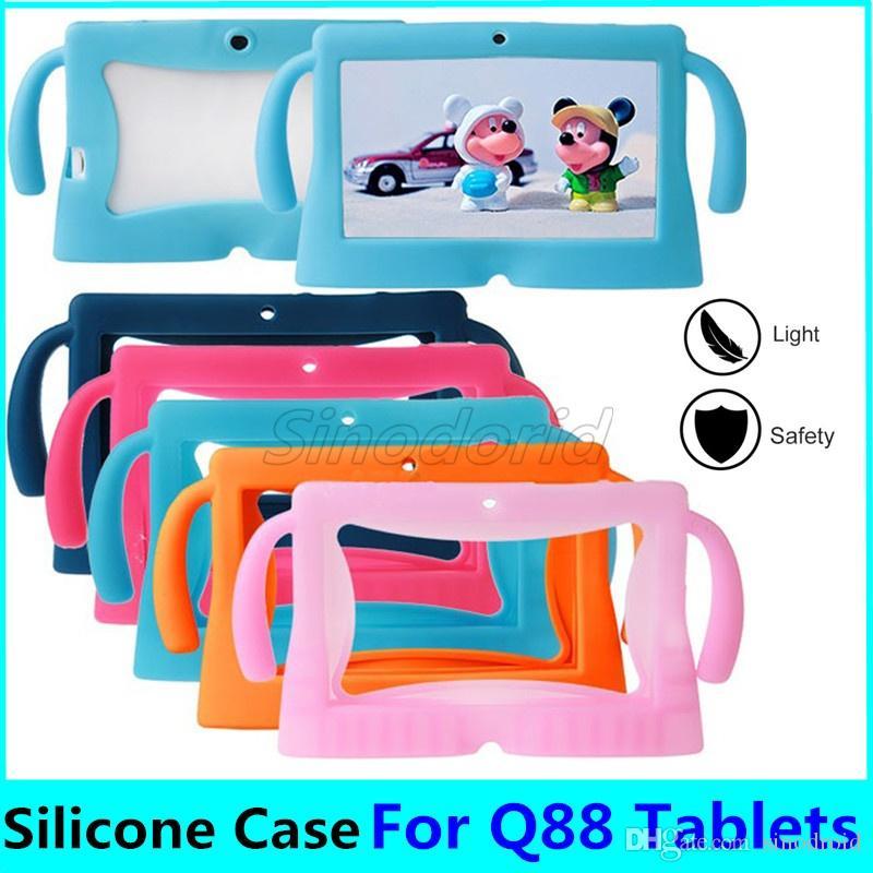 Crianças suave silicone Gel Rubber orelhas grandes bonitos Tablet PC capa para 7 polegadas Q88 Anti-pó Gota resistente tampa protetora