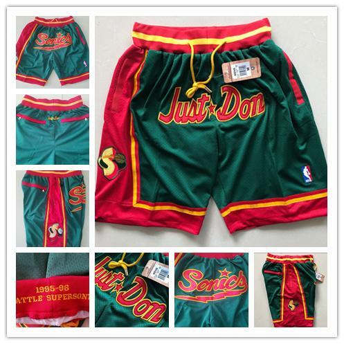 2019 SeattleSupersonicsMEN JUST DON Hip Hop Motion Basketball Shorts Stripe Network Lining Split Joint Sports Pants