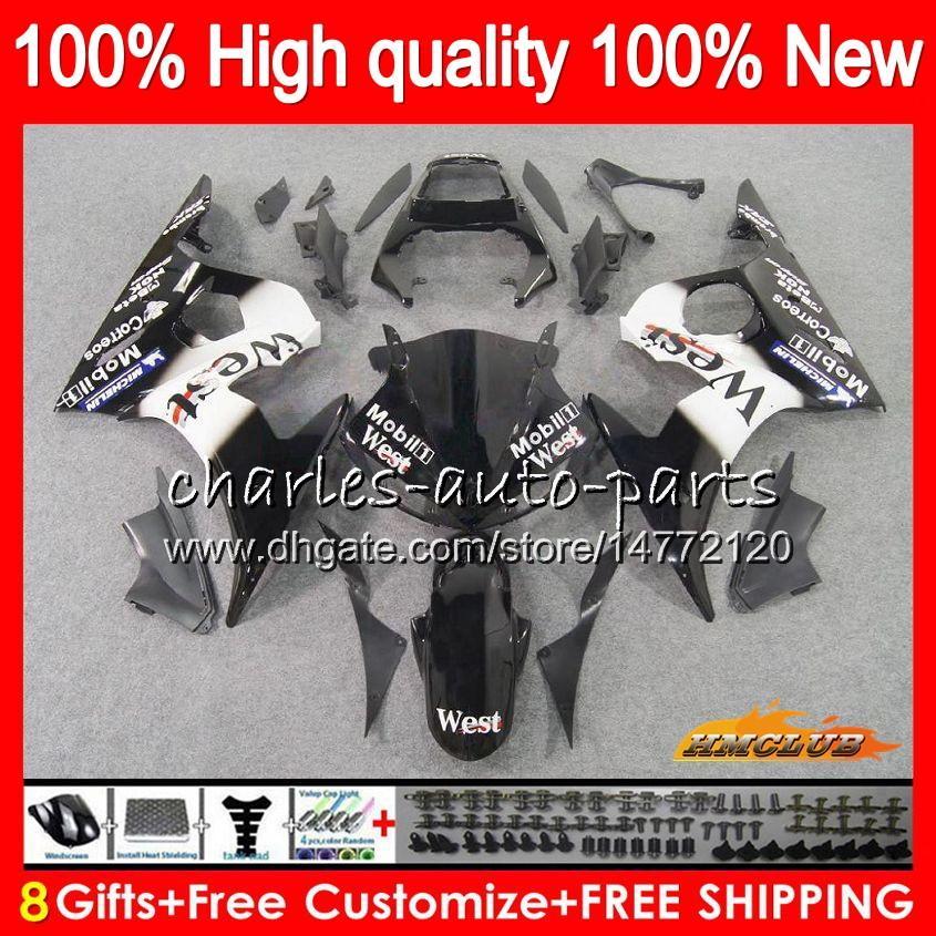 Body+8Gifts For YAMAHA YZF R6 S YZF600 YZFR6S 06 07 08 09 60HC.27 YZF-600 YZF R6S 06-09 black west YZF-R6S 2006 2007 2008 2009 Fairing Kit