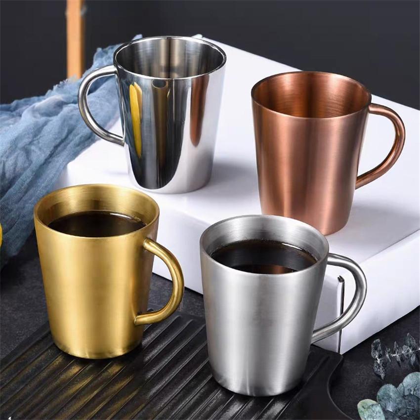320ml Beer Mug Stainless Steel Handle Wine Glasses Double Wall Coffee Mug Insulated Korean Cup Milk Cups A03