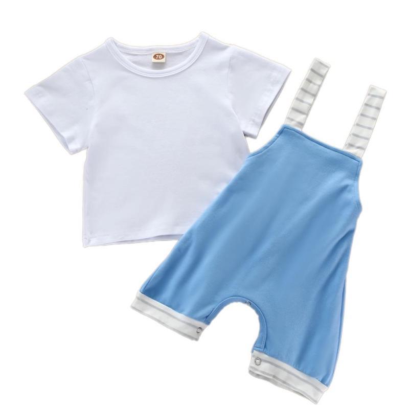2 PCS estate del neonato solido di colore corta T-shirt manica + Tuta