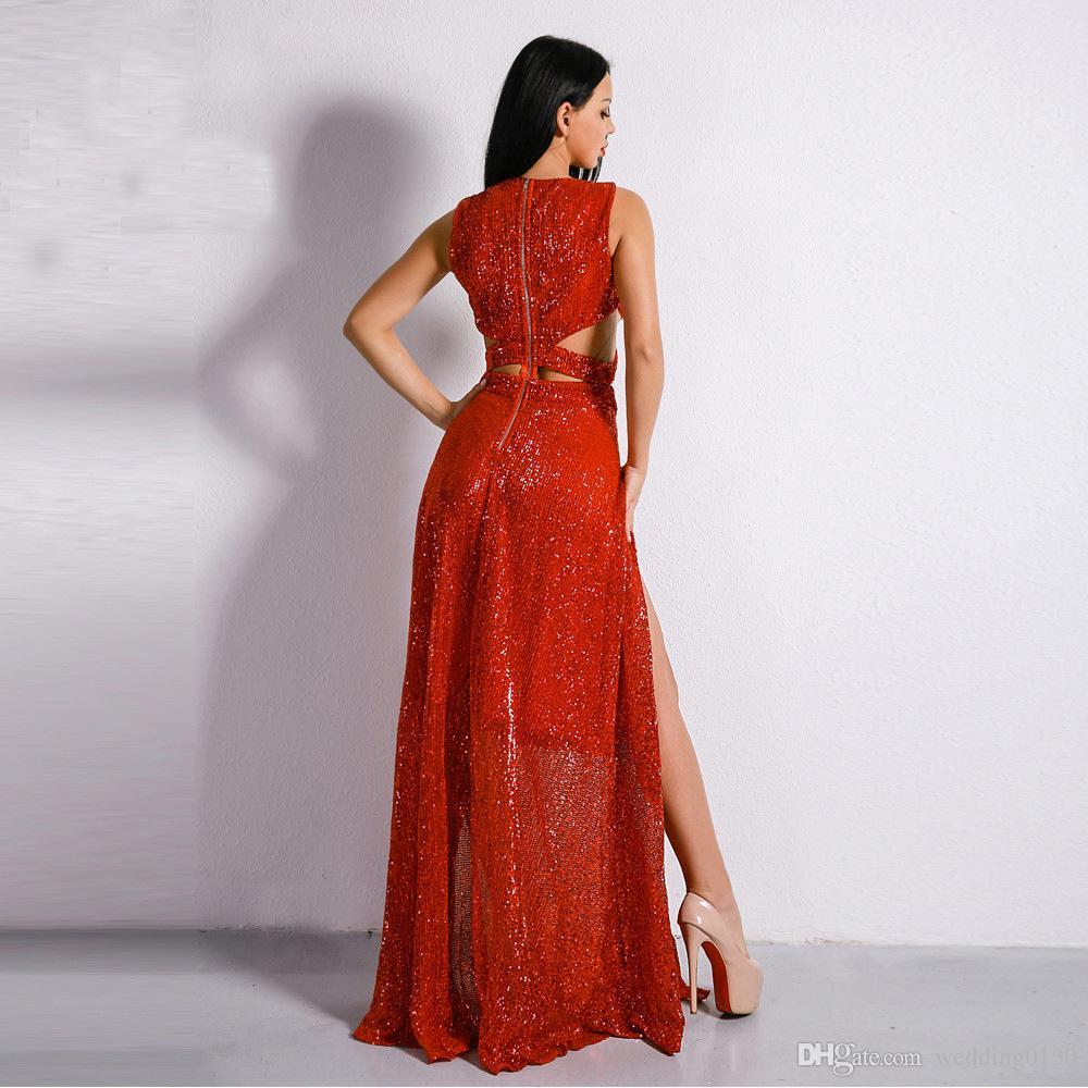 großhandel thai sexy pailletten a line abendkleid elegante abendkleider  2019 side split kleider für besondere anlässe echt bild in stocks von