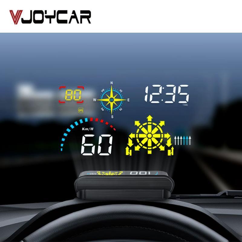 탐색와 최신 앞 유리 프로젝터 자동차 헤드 업 디스플레이 Q10 OBD2 HUD GPS 속도계 보안 경보 물 기름 임시 RPM