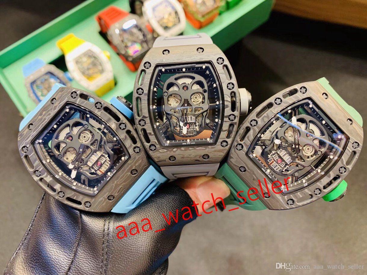 Tourbillon'u lüks mens openworked 9 stilleri RM052 RM27-02 karbon fiber perdesi otomatik hareket lastik kayış safir watchcase saatler