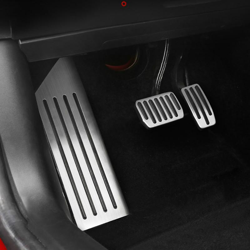 Aluminiumlegierung Fußpedal für Tesla Model 3 Accelerator-Gas-Kraftstoff Bremspedal übriges Pedalauflagen Mats Abdeckung Zubehör Car Styling (RETAIL)