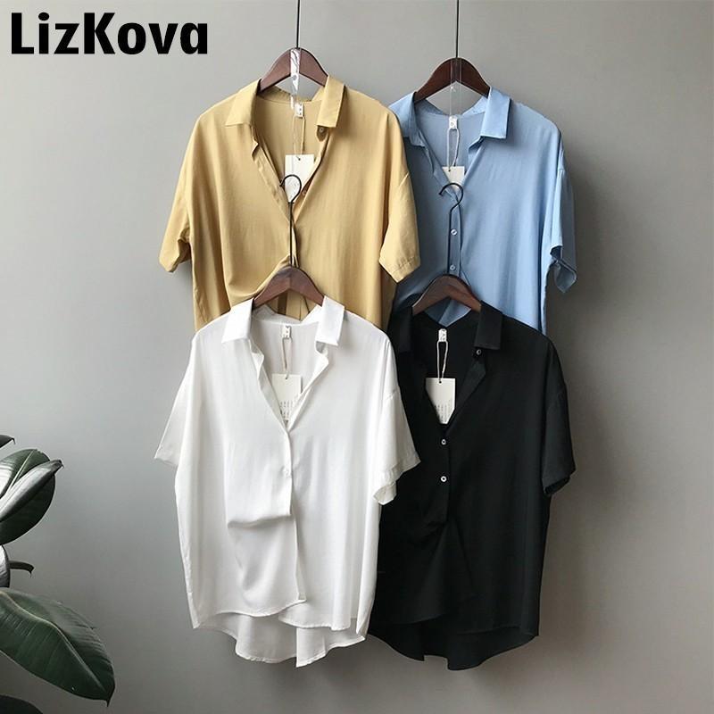 2019 Yaz Kısa Saten Gömlek Tek Bayan Eğlence Gömlek Kore Lot Tops Artı Boyutu Bluz Kadınlar Y19071201