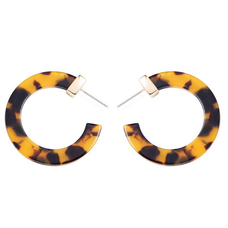 Модные Женщины серьга Multi-Color Маленьких круглого обруча серьга Женщина Круг Leopard Акрилового Ацетат Tortoise Shell обручи сплав серьга