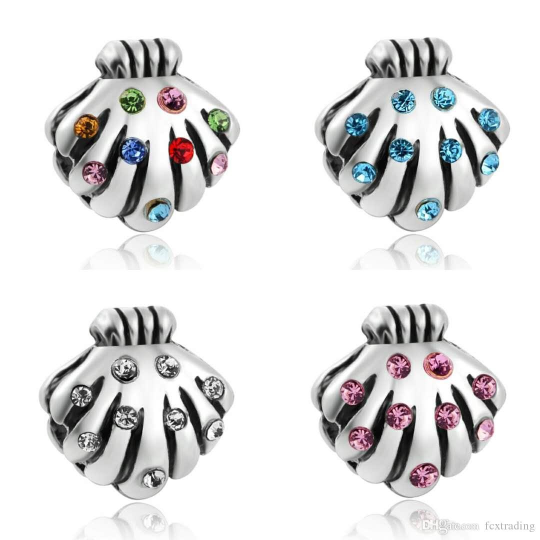 Nouveaux charmes de conque colorés Big Trous Coquille Charme Perles Fit pour Bracelet Cadeau de Noël Cadeau Diy Bijoux Accessoires Make Collier Bracelet
