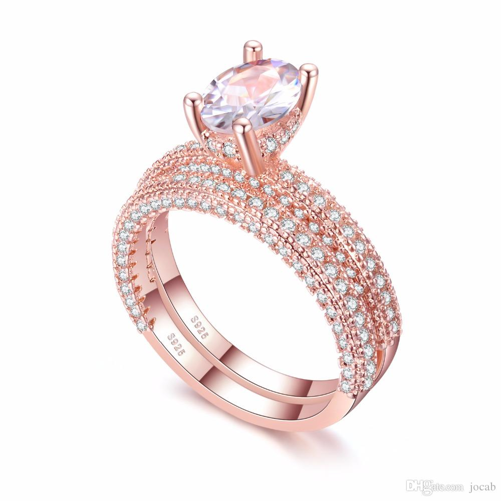 2019 high quality Rose Gold Double row White gold For Women Fashion Cubic Zirconia Wedding Engagement ring