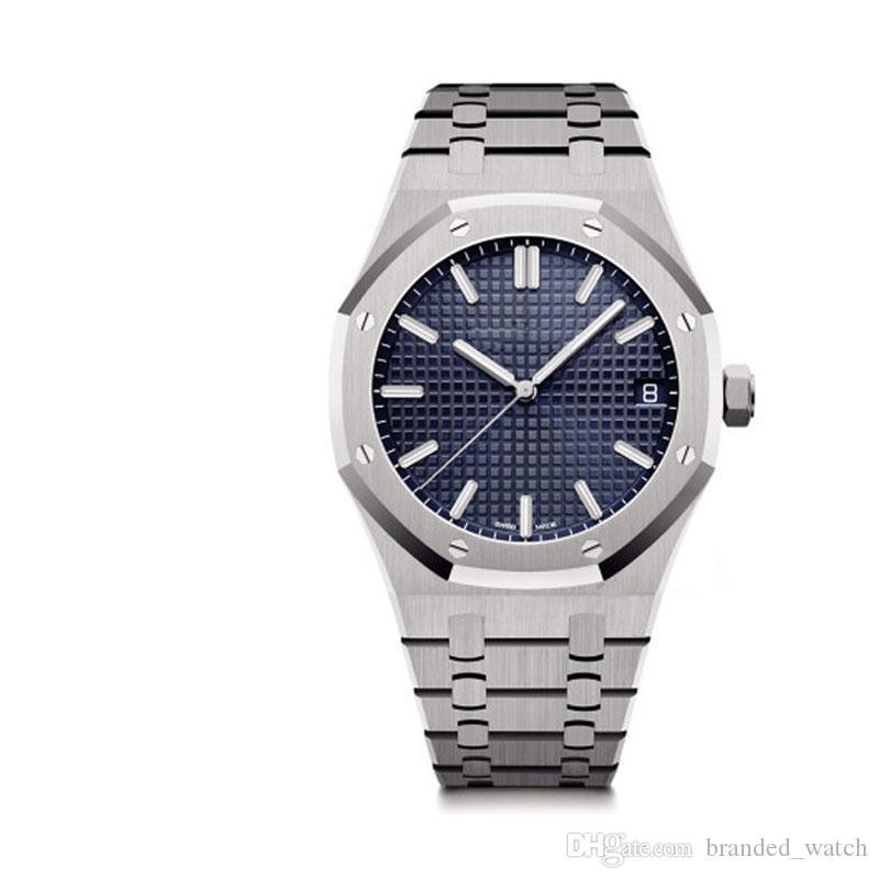 moda Mens Watch Real 15400 Série azul 42MM Dial aço inoxidável completa Caso Strap Top Automático Mecânica Movimento clássico relógio de pulso