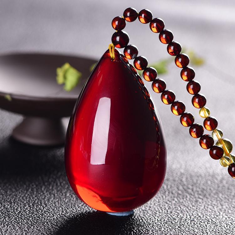 Naturali Ambra sangue Perpendants, goccia d'acqua di tipo catena del maglione, pietra originale, Miele-cera, Collana No-biglietto da visita