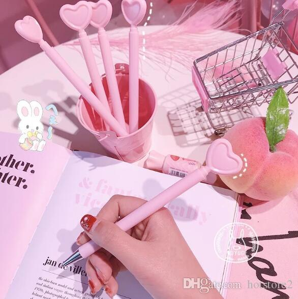 Creative heart-shaped pen girl pink love gel pen student office stationery black pen photo props cartoon