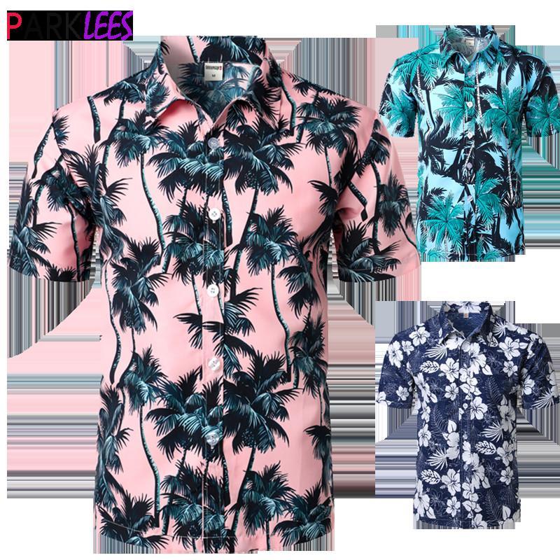 Palm Tree Printed Hawaiian Beach Shirt for Men 2019 Summer Short Sleeve 5XL Aloha Shirts Mens Holiday Vacation Clothing Chemise Y200623