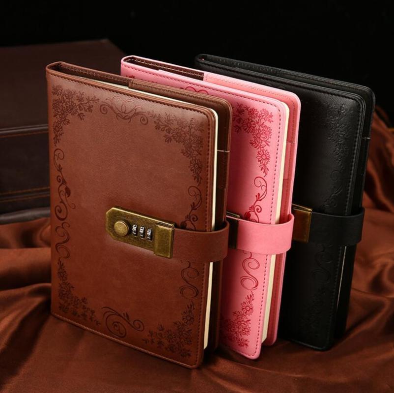 Notepads Diario con llave Notebook A5 Vintage Lockable Papel PU Cuero de PU Note Reservar Diario Semanal Planeador Escuela Papelería Regalo