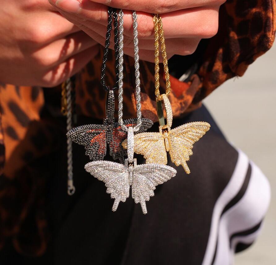 Nouvelle couleur micro zircons cadre grand collier pendentif papillon hip hop rap hommes et les femmes DJ collier de bijoux