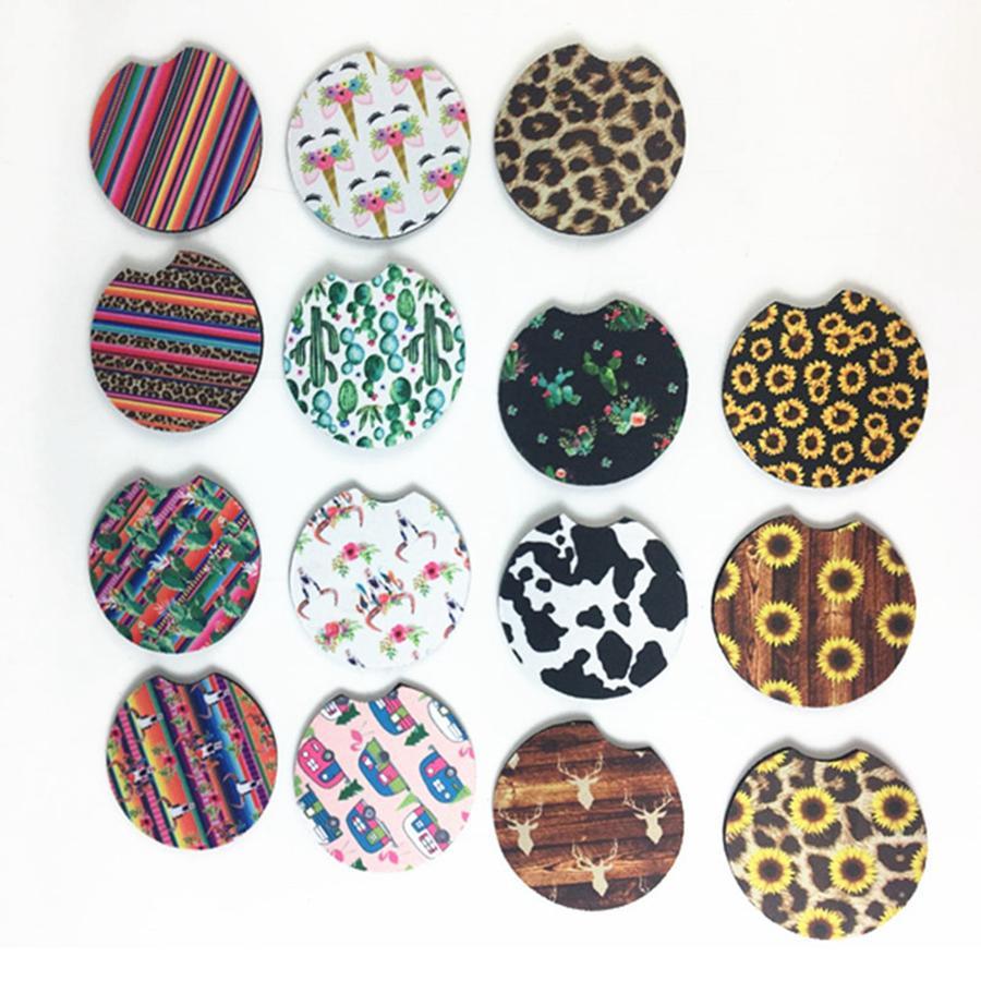 Neoprene Car Cup Mat Contrast Mug Coaster Flower Teacup Rainbow colors Pad para accesorios de decoración del hogar RRA1913