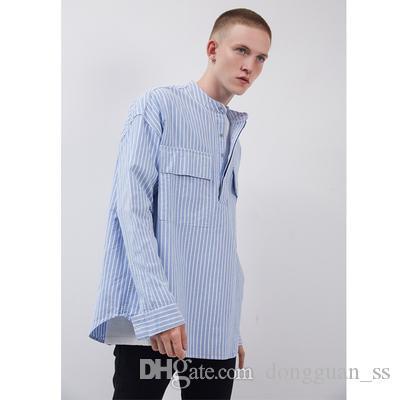 Cotton Pullover OVERSIZE de manga comprida camisa Descontraído Fit-button três camisas Streetwear emborrachado remendo na parte traseira