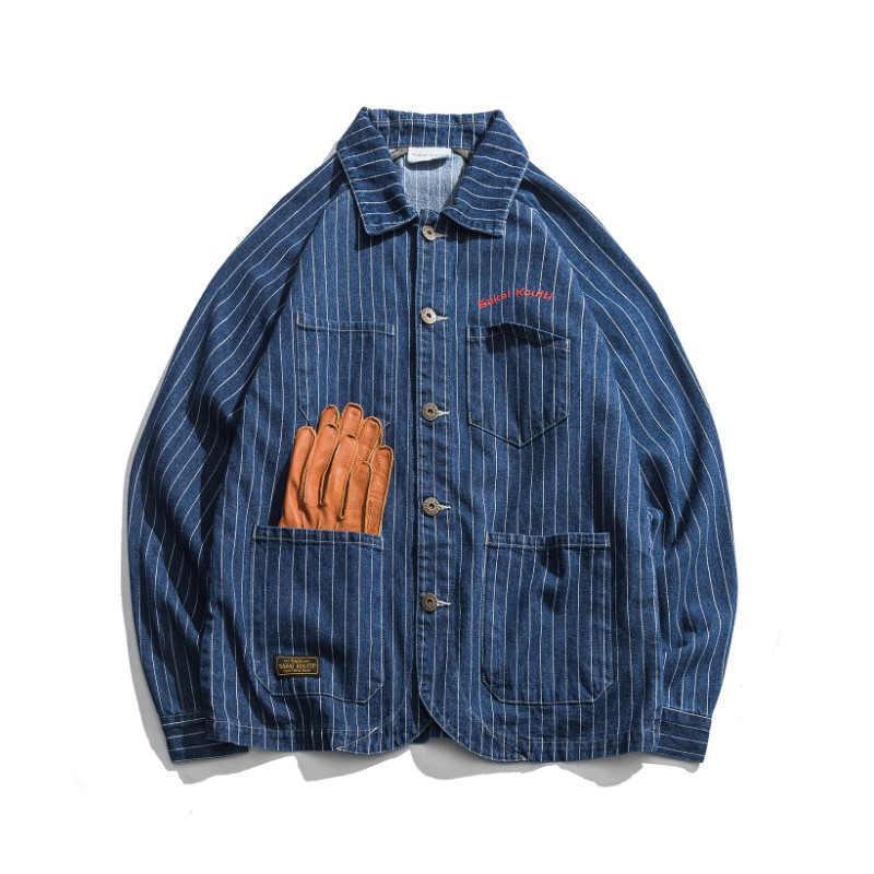 2019 nouvelle mode mens rétro veste en jean printemps style japonais à manches longues en coton rayé vestes cowboy streetwear ds50331