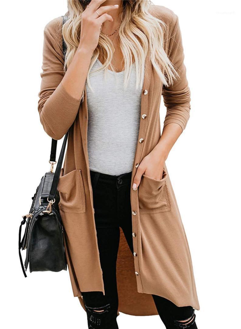 Otoño del resorte V mujeres del cuello de las chaquetas flojas ocasionales de las señoras de vestir exteriores con Pocket Mujer diseñador de moda sólida color de la capa