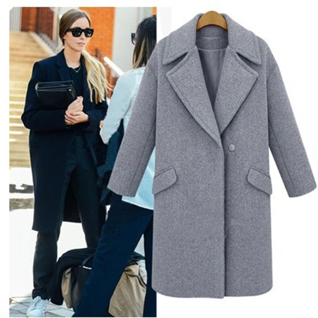 Mode Design Hohe Qualität Womens Winter Revers Wollmantel Button Trench Jacke Lose Plus Mantel Outwear Mäntel