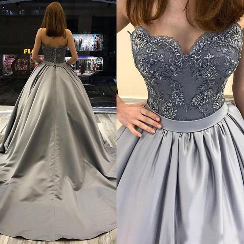 2020 Yeni Gri Sweetheart Kapalı Omuz Uzun Gelinlik Modelleri Kolsuz Aplikler Dantel Boncuklu Örgün Akşam Parti Elbise