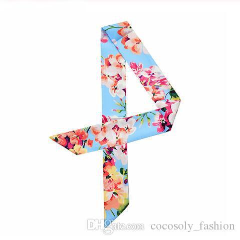 2019 nouvelle marque femmes petite impression foulard en soie style floral foulard tête bandeau poignée sac rubans cravate femme petite longue écharpes