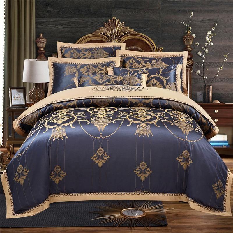 42luxury Black Bedding Sets Silk Cotton, Black And Gold Silk Bedding