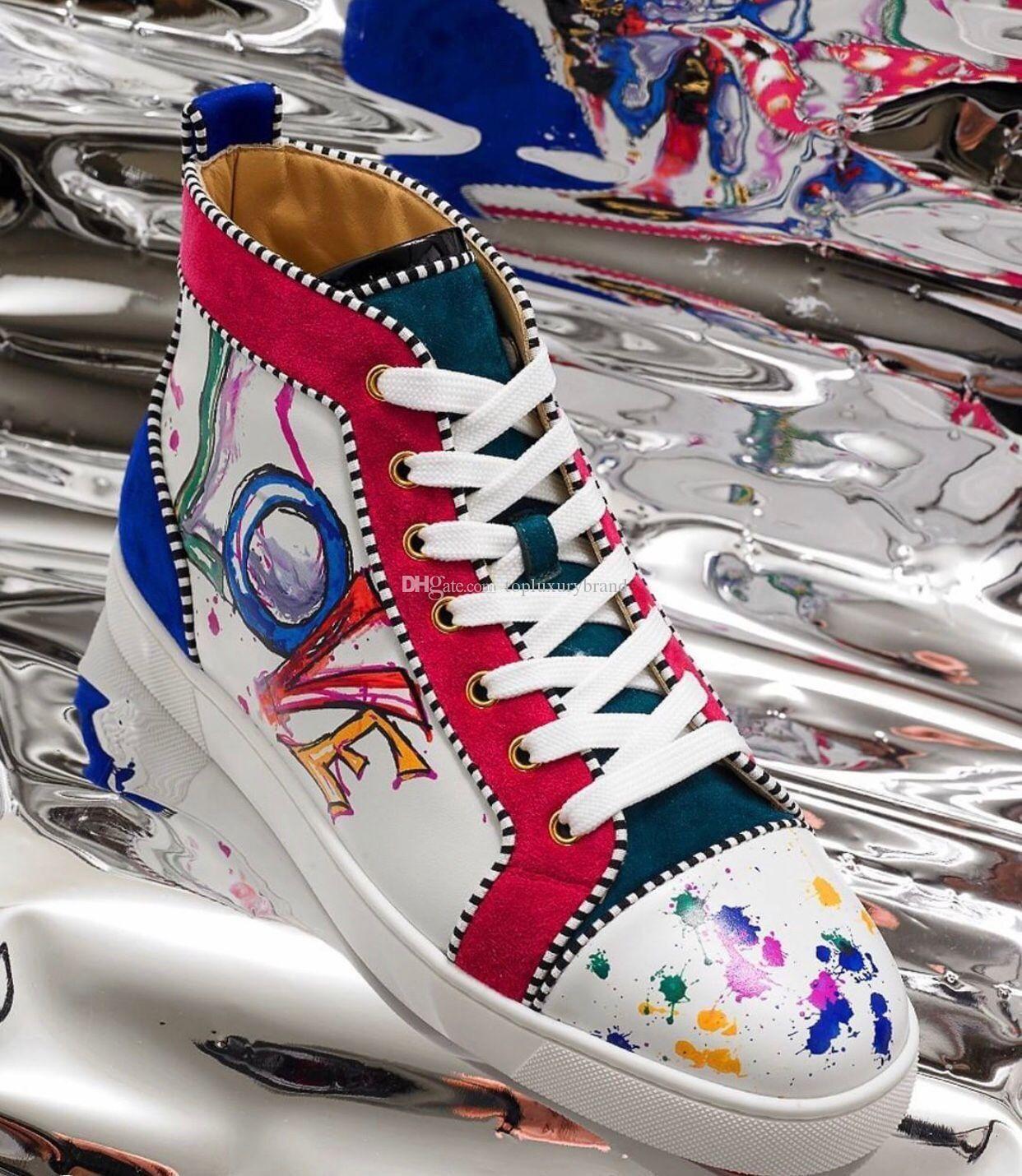 """إيطاليا جلدية حقيقية شقة أحذية رياضية الأحمر الرجال أسفل أحذية مع الأبيض والأسود، الكتابة على الجدران """"الحب"""" طباعة حذاء رياضة أحذية جلدية عادية المدرب فاخر"""