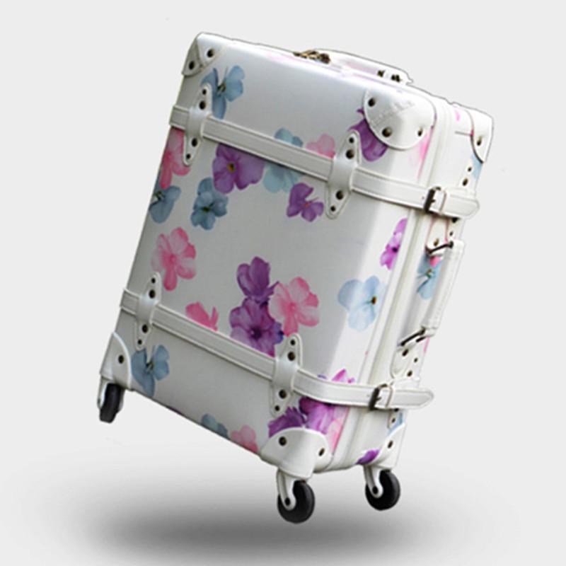 Дизайнерский багаж, Cherry Retro Travel чемодан, высококачественная сумка для печати из полиуретана, сумки для ручной клади с вращающимися тележками, ручная коробка для роликовых стержней