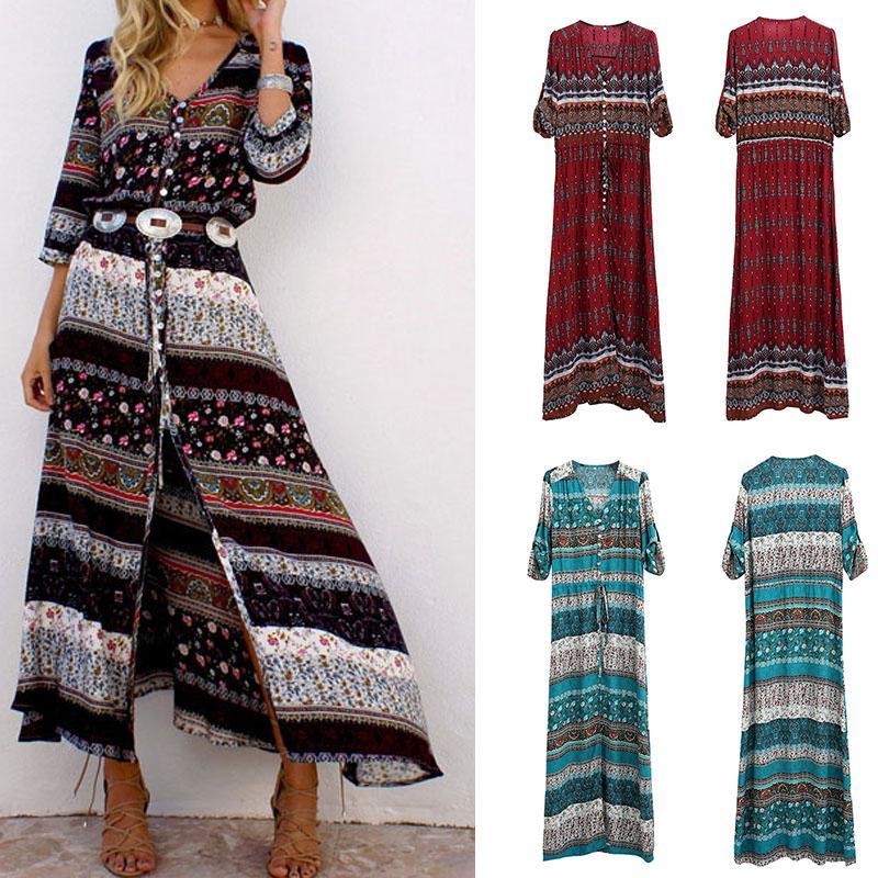 2020 New Bohemian Printing Long Dress Women Maxi Long Dress Floral Print Retro Hippie Vestidos Chic Brand Clothing Boho Dress T200623
