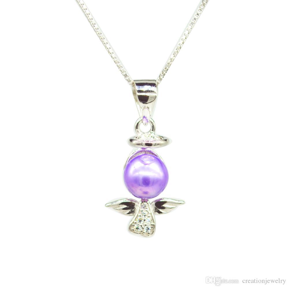 S925 Angel Love İnci kolye kolye Ayar Montaj Tabanı% 100 Katı 925 Gümüş Yarı Dağı Kadın DIY Takı Bulguları DZ037