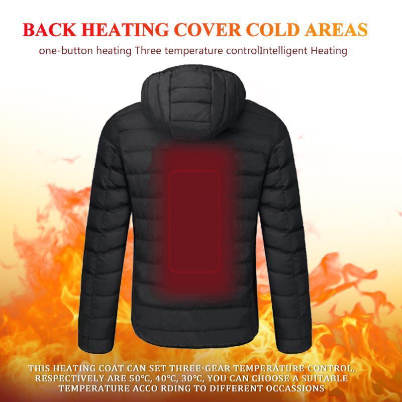 Alta qualità riscaldato Giacche Maglia 2019 inverno cappotto caldo flessibile elettrico termica Cappuccio Abbigliamento Outdoor cappotto USB termica